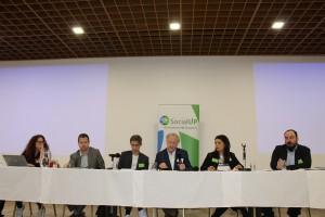 Otvorenie konferencie - Natalia Chardymova (COE), Ivan Hromada (MINEDU), Martin Mlynár (SocialUP), Fernand de Varennes (OSN), Alessandra Coppola (NHSN), Bálint Jósa (United)